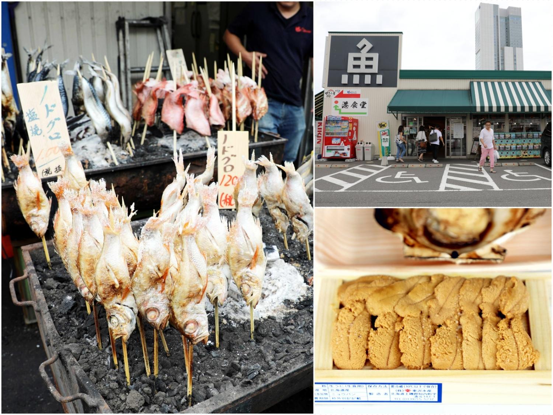 新潟旅遊美食-pia萬代市場、弁慶迴轉壽司:燒烤魚貨、迴轉壽司、白米、清酒、蔬果買不完的觀光市場